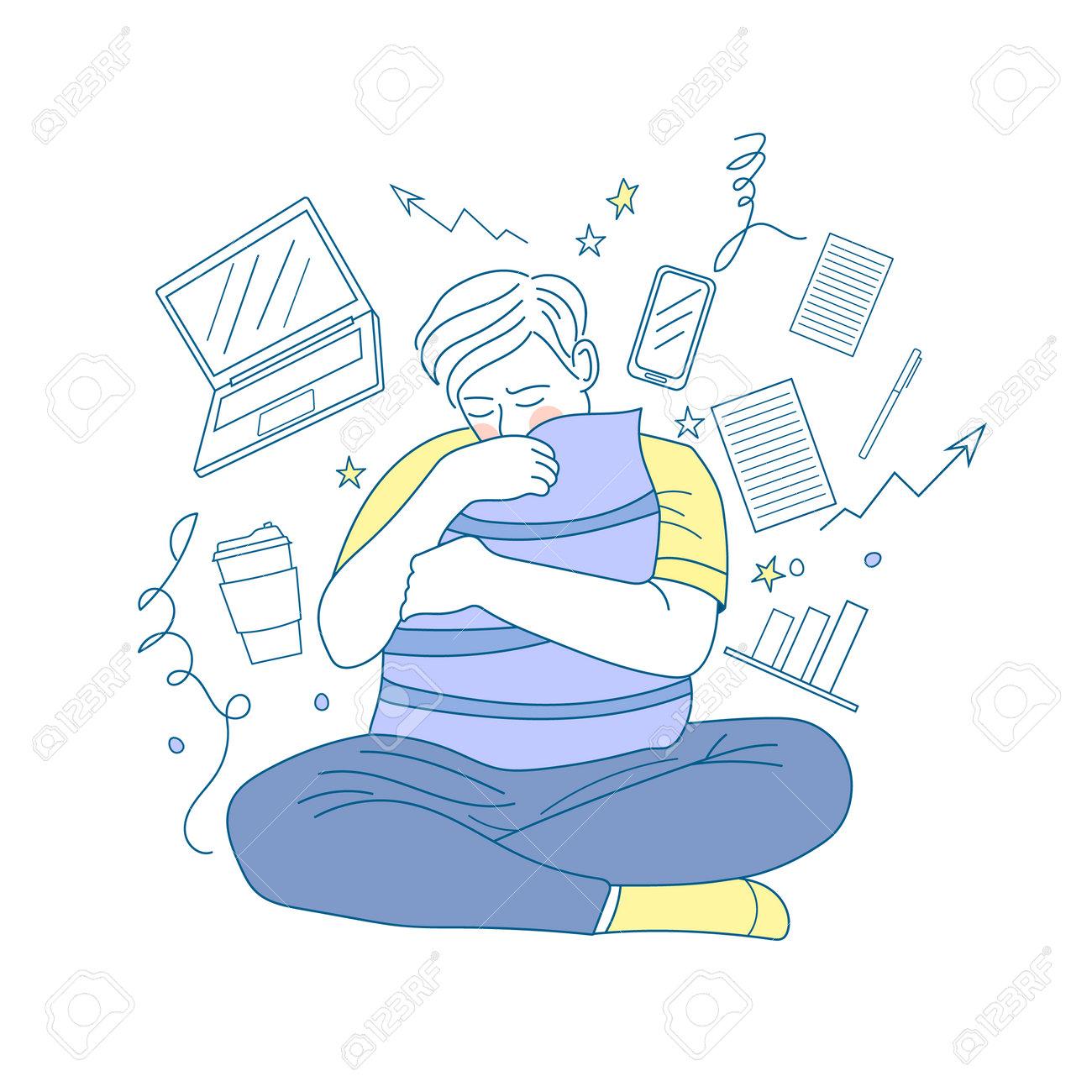 Sad guy depressed from hard work. Unhappy man. Mental strain. - 161909302