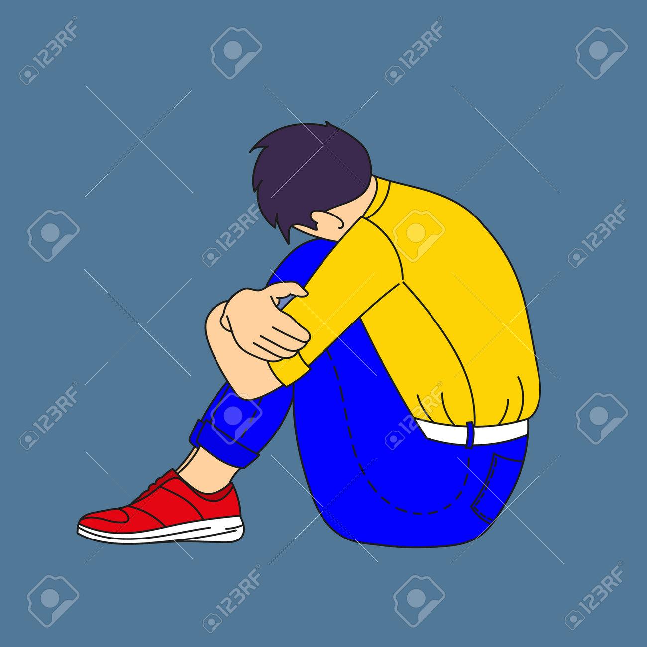 Sad guy sitting put his head on his knees. - 161909303