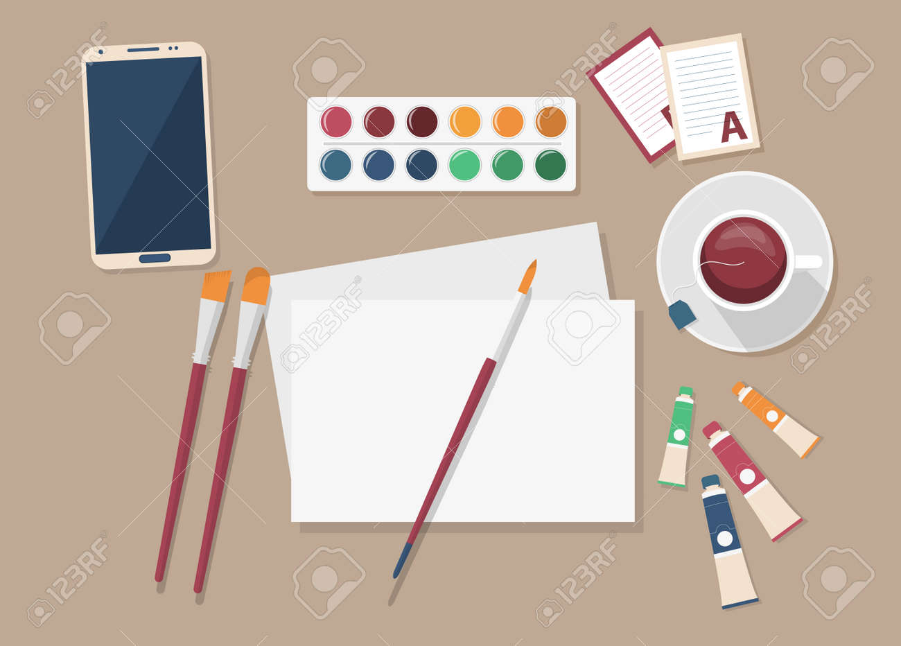 Artist s set. Top view vector illustration of artist s workplace. Oil paint, watercolors, canvas and brushes, cup of tea. - 161909304