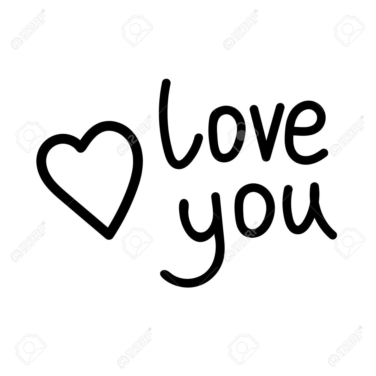 Love you text with heart. Love you - black calligraphy inscription. Love You vector illustration for postcard, greeting card and banner. Valentine's day card. - 161909305