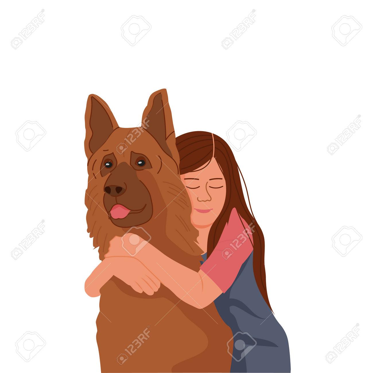 Little girl hugging a dog - 161909306