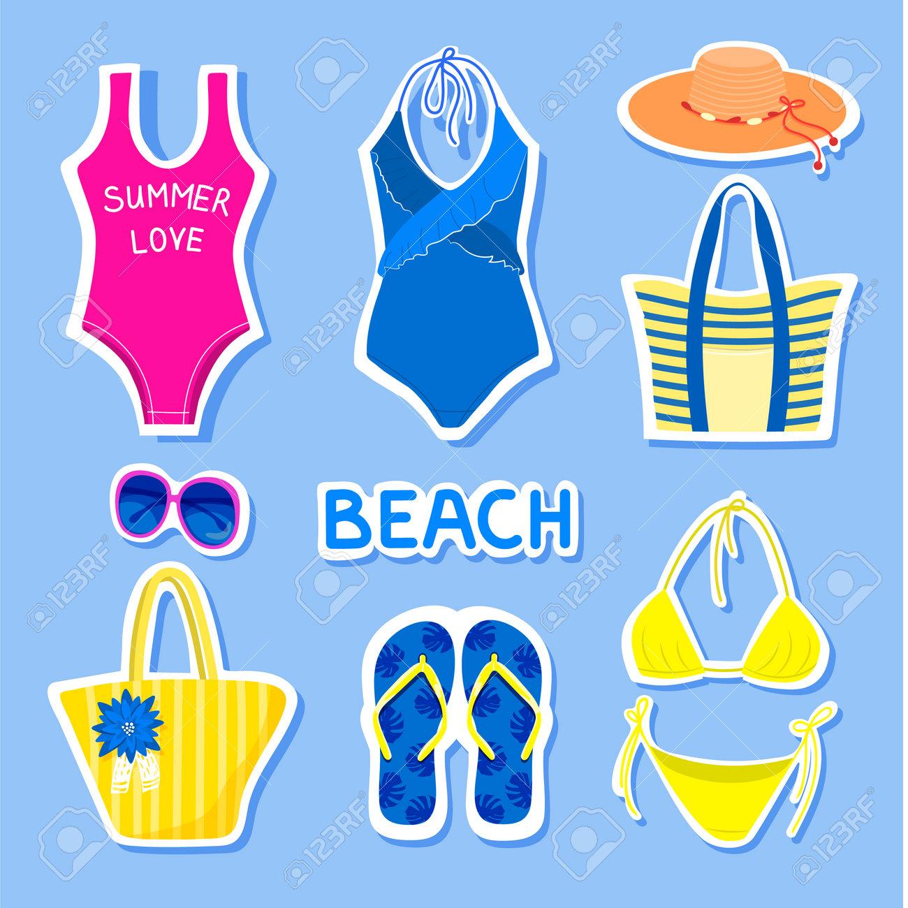 Set of summer stickers. - 162665368