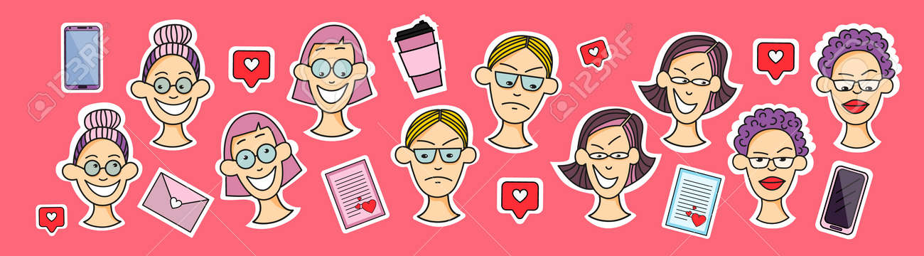 Sticker female face - 162665473