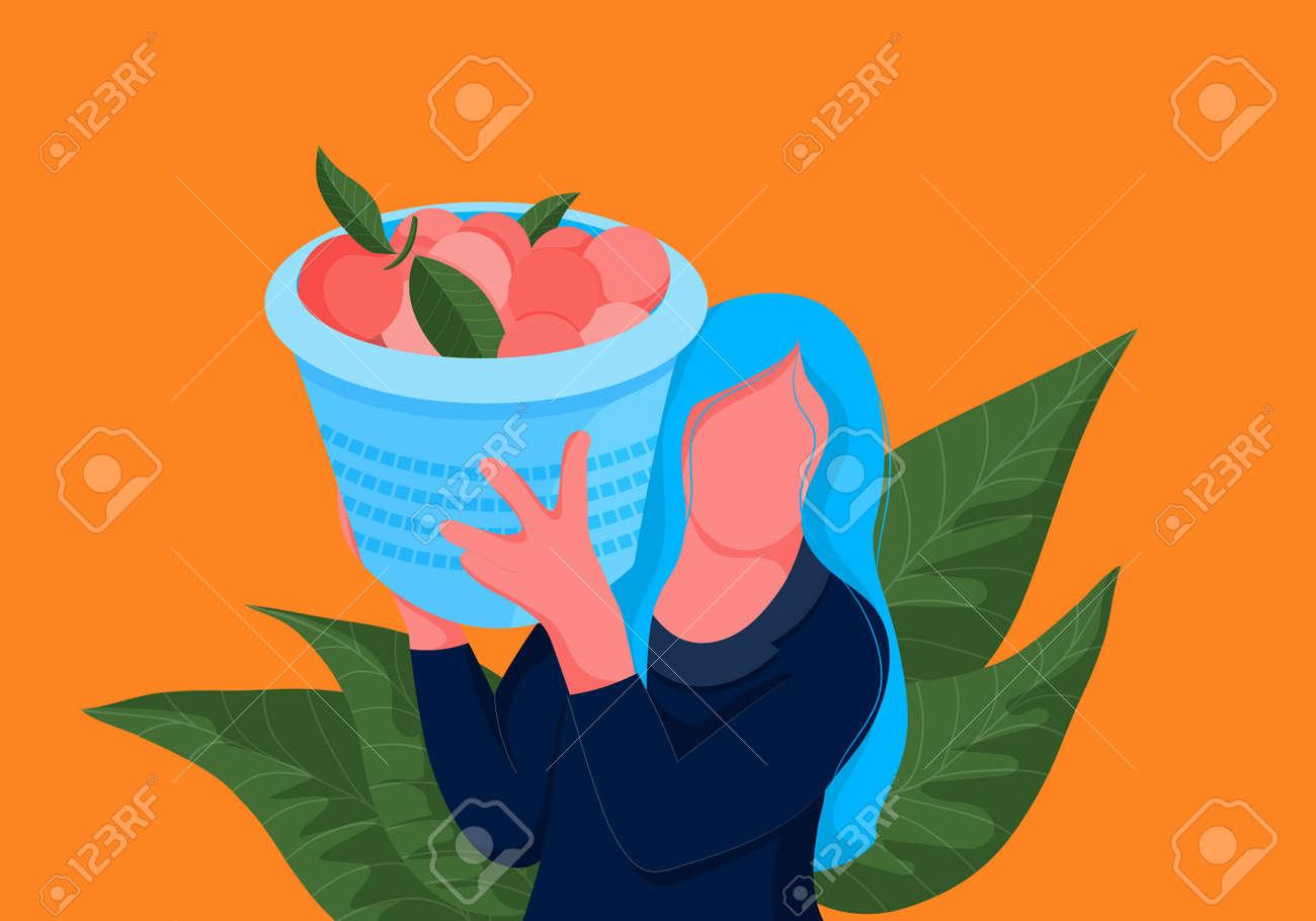 Orange picker. Woman carrying basket full of oranges on her shoulder. Bright illustration - 163715293