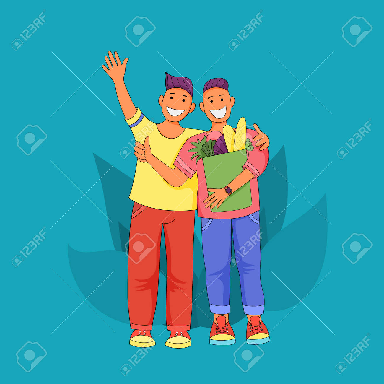 Male friendship. Two cheerful guys hugging. Men are happy after shopping. Guys with big smiles vector Illustration - 163715789