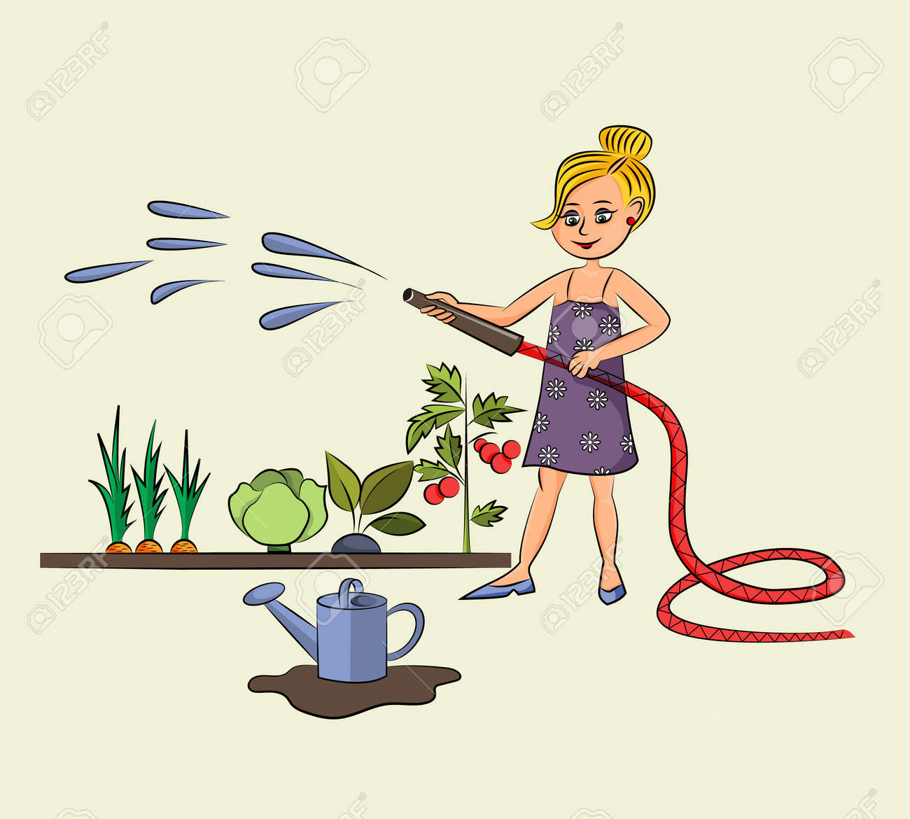 Cheerful hardworking girl works in the garden and hose down vegetables. - 168765939