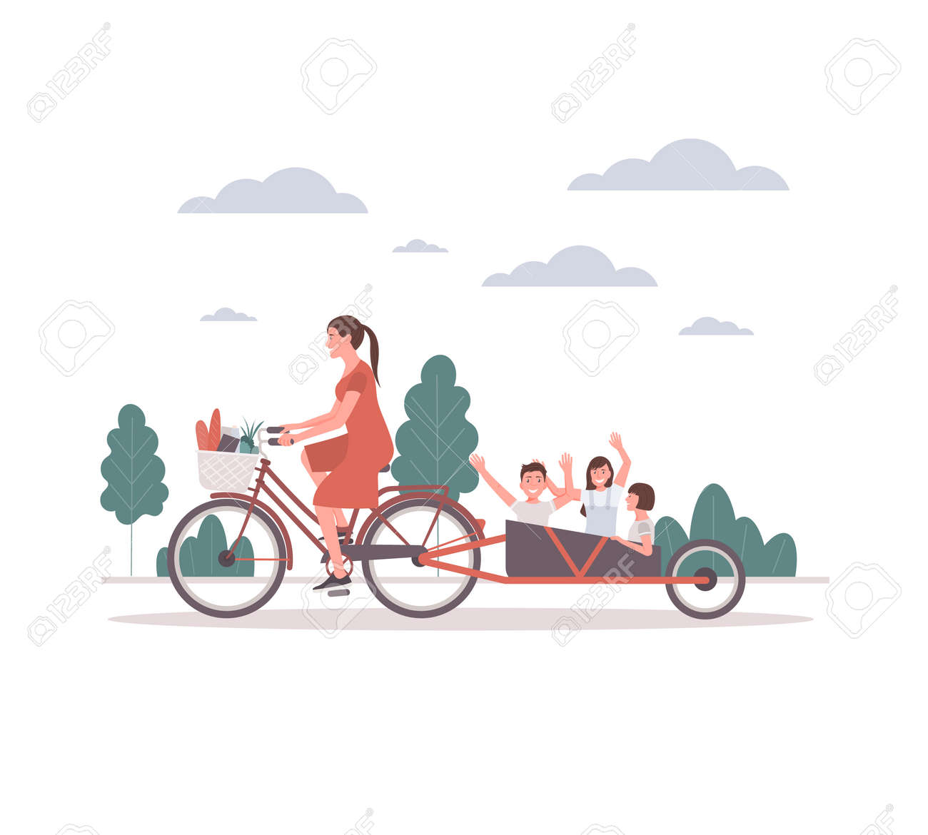 Young mother on a bicycle takes her children for a walk. Children are happy with their mothers for a walk.Mom takes care of the mental and physical well being of her children. - 168765938