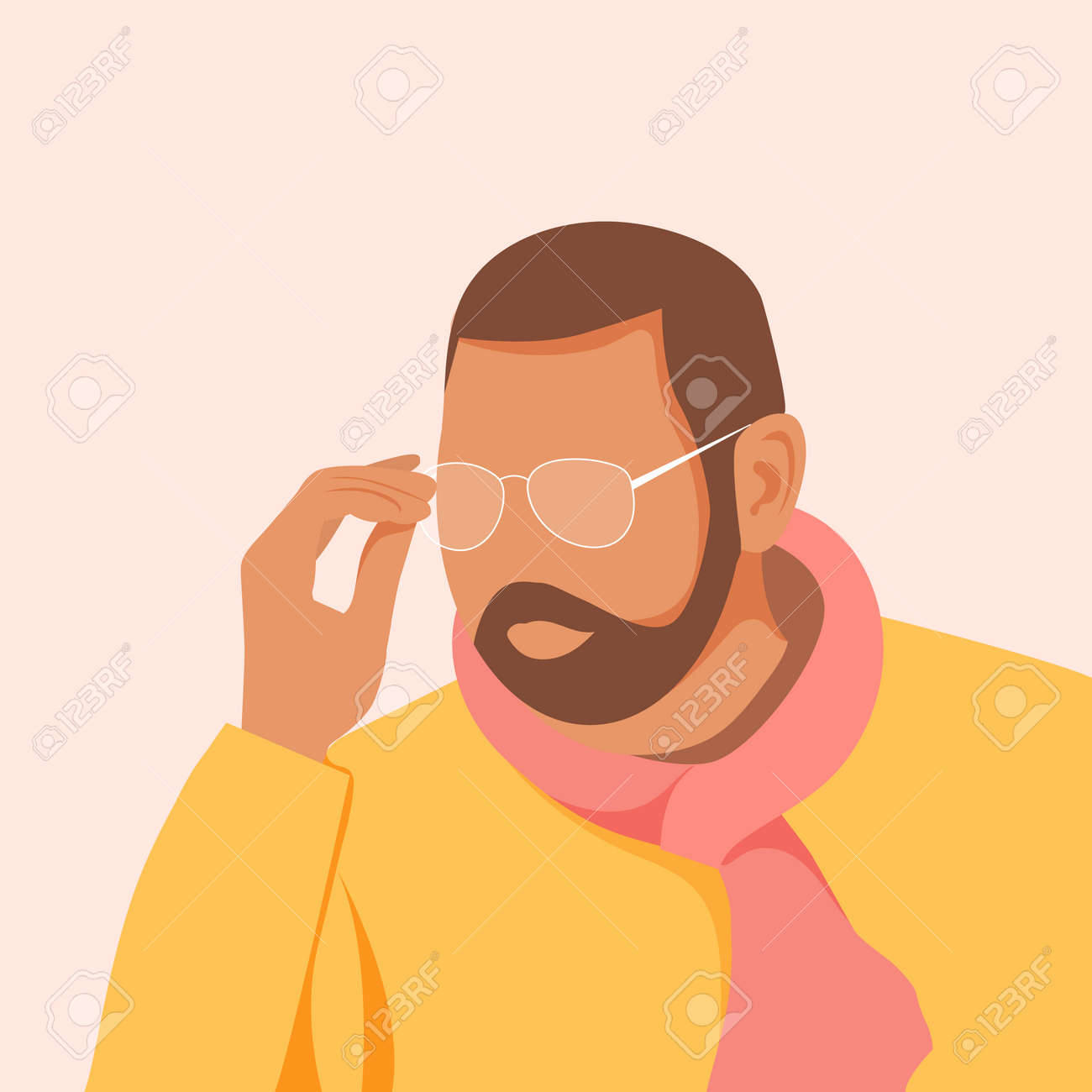 Handsome young man with beard wearing glasses. Guy in orange stylish shirt. Vector illustration - 168765954