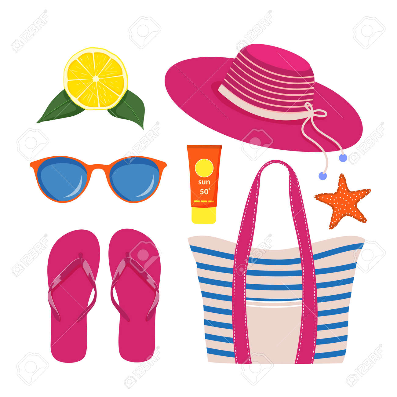 Set of beach accessories on white background - 168765965