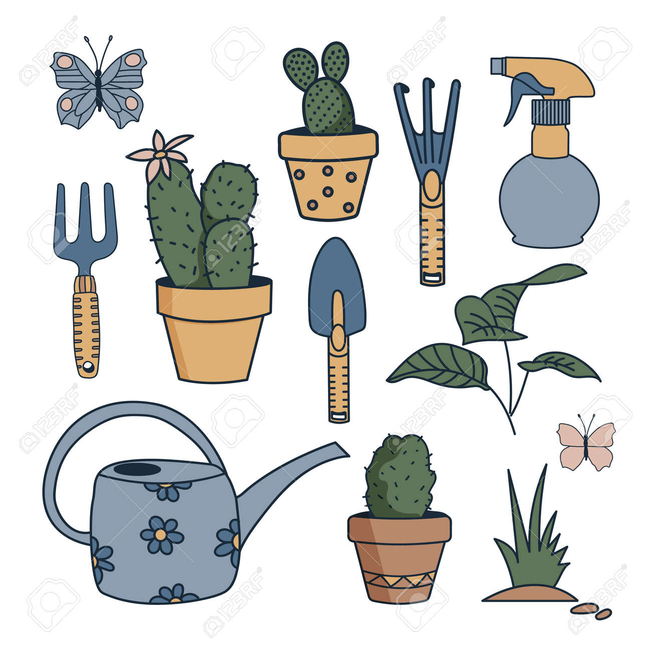 Vector set of garden tools isolated on white background. - 169107767