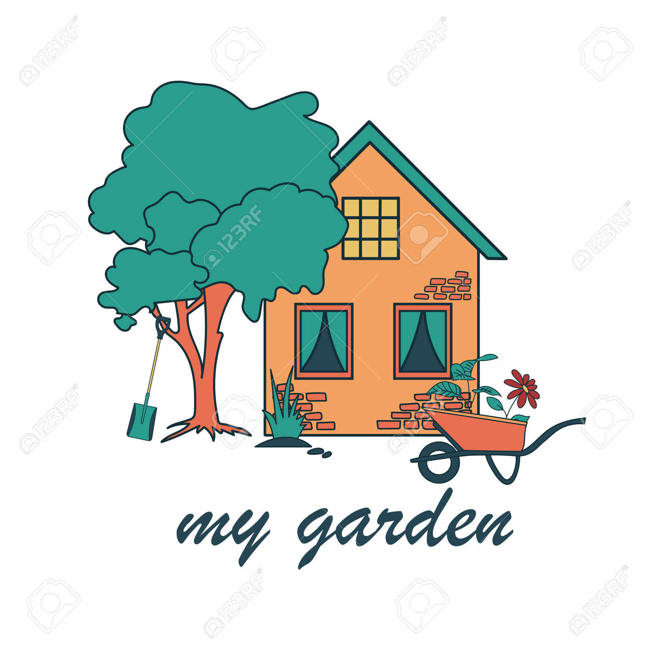 Vector illustration with home and text My garden. Cute garden house with tree. Flat illustration on white background. - 169107937