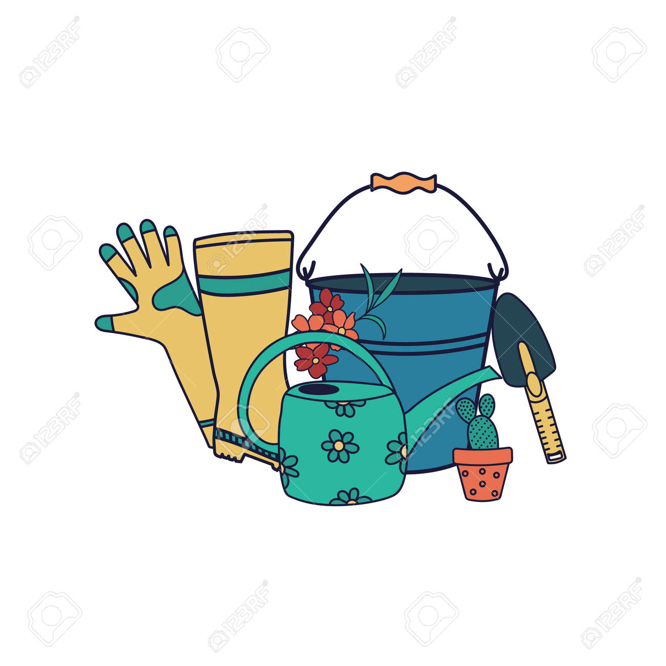 Vector set of garden tools isolated on white background. Bucket, rubber boots, gloves, watering can, shovel. Flat cartoon illustration. - 169107938