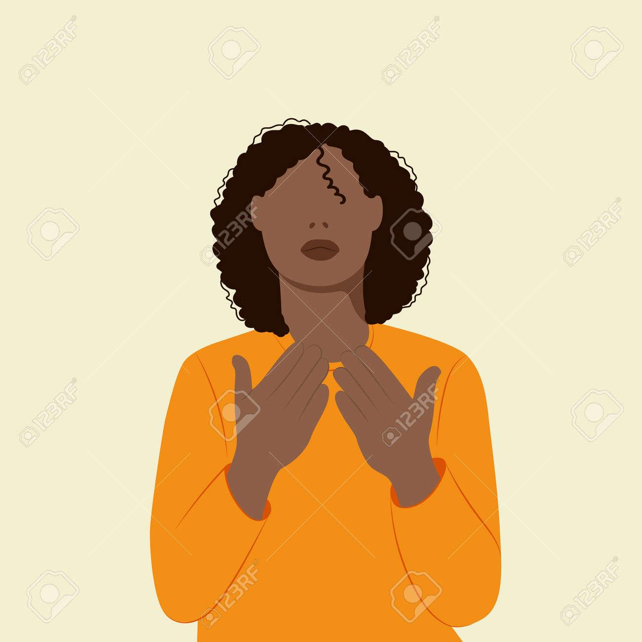 Black beautiful woman praying to god - 169107957