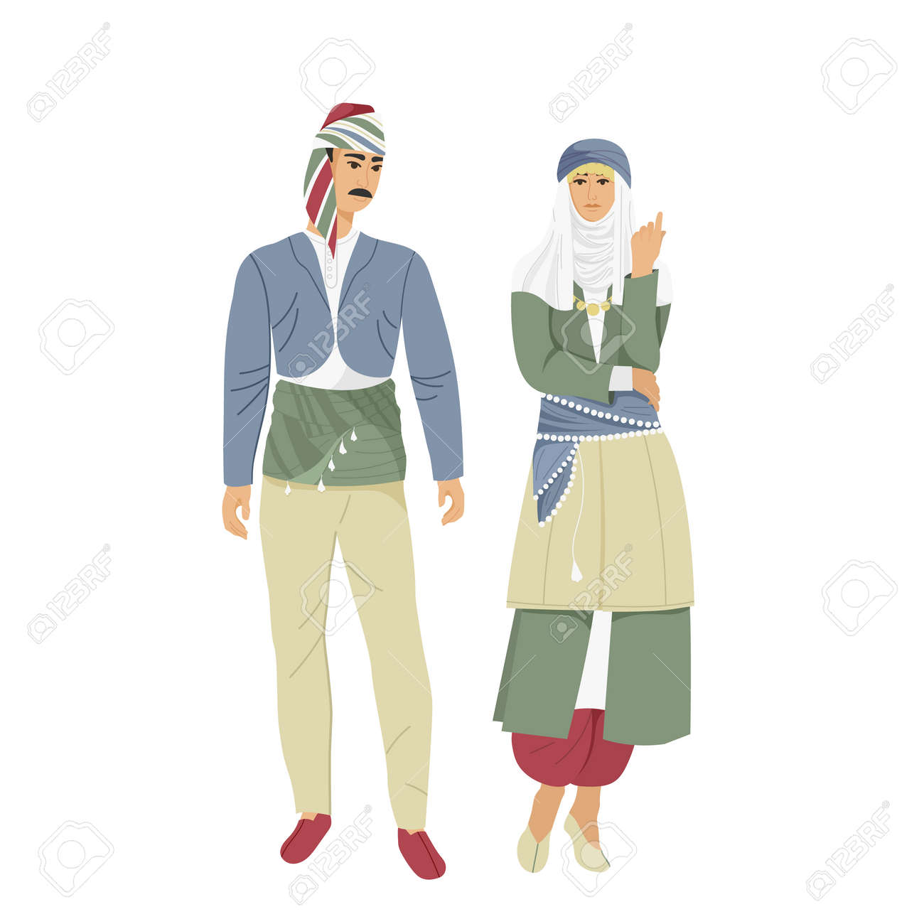 Man and woman in traditional Turkish costume, - 169605822