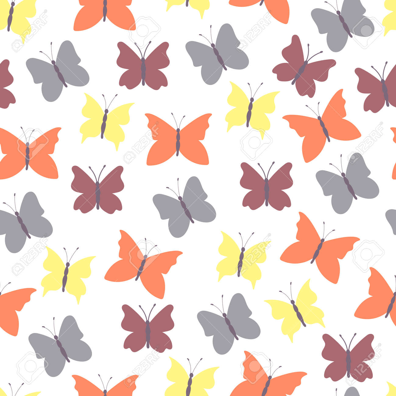 Abstract seamless background colored butterflies.Colorful flat design for fabric and textile. - 169605834