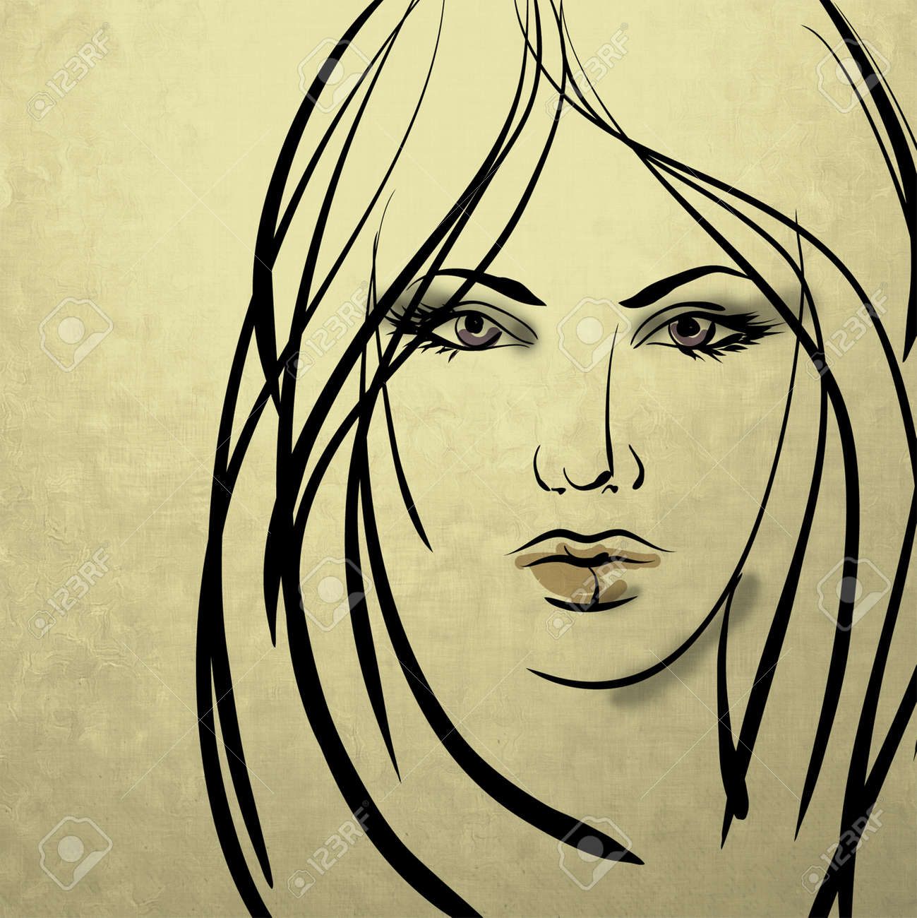 Art colorful sketching beautiful girl face on sepia background stock photo 17395101