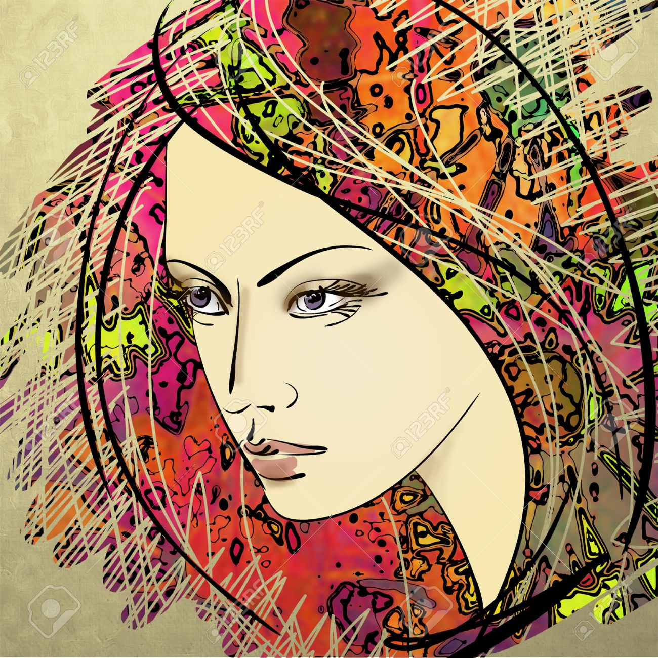art colorful sketching beautiful girl face on sepia background Stock Photo - 17395369