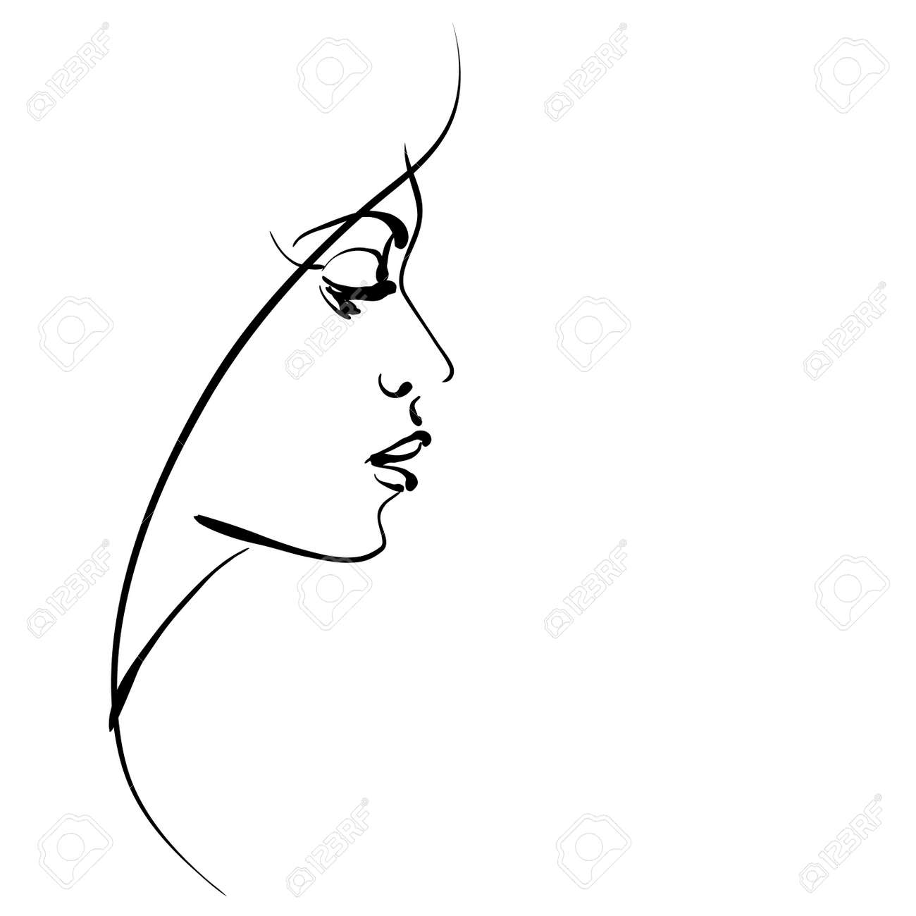 Art Sketching Beautiful Girl Face Symbols Stock Photo Picture And