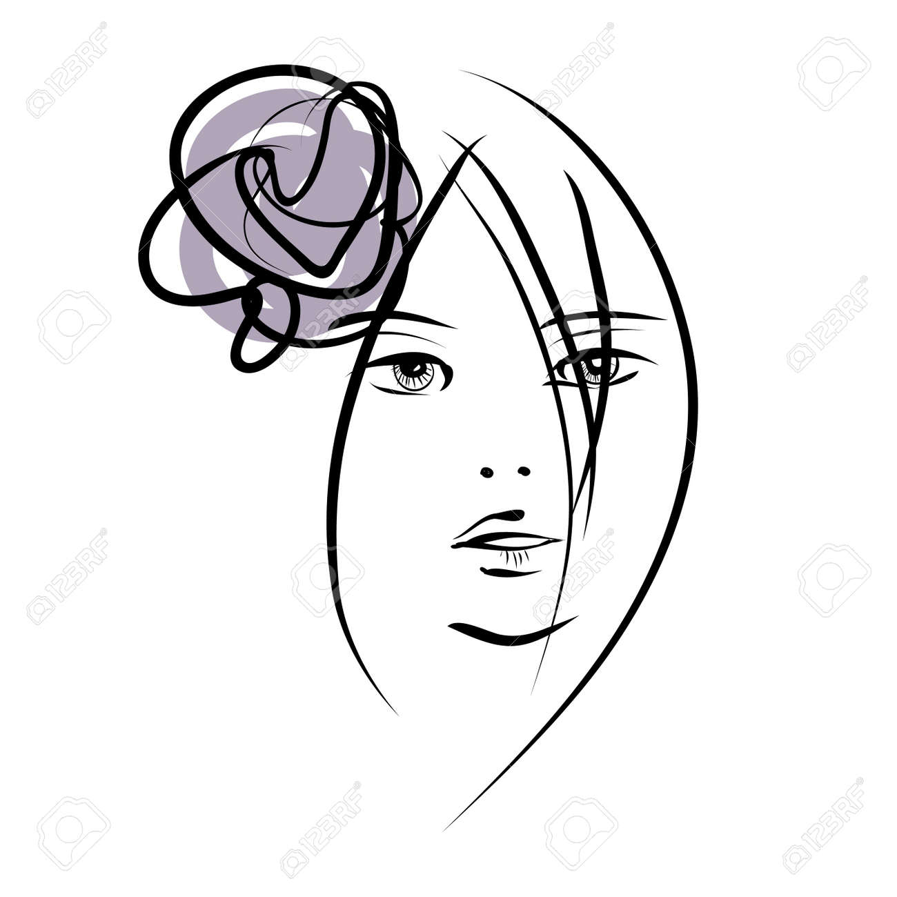 Art sketching beautiful girl face symbols stock photo picture and art sketching beautiful girl face symbols stock photo 18924661 biocorpaavc Images