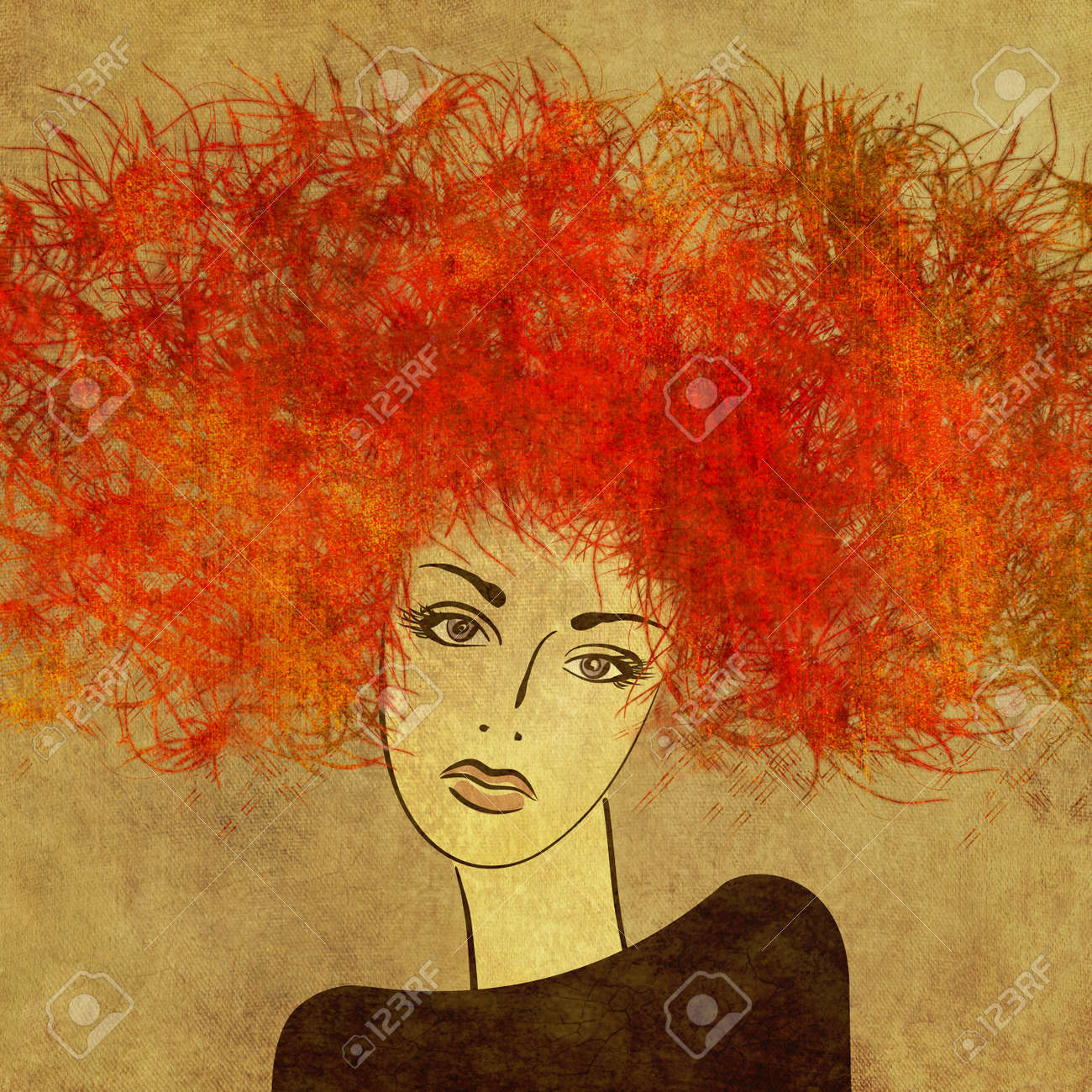 art colorful painting beautiful girl face with red hair on sepia square background Stock Photo - 18925022