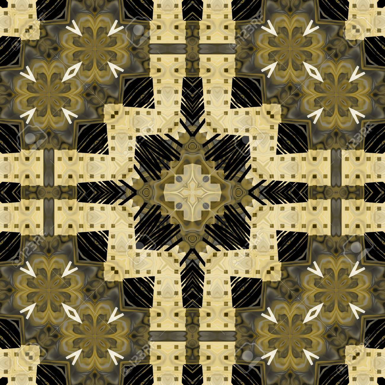 Art Vintage Geometric Ornamental Pattern In Sepia? Green And.. Stock ...