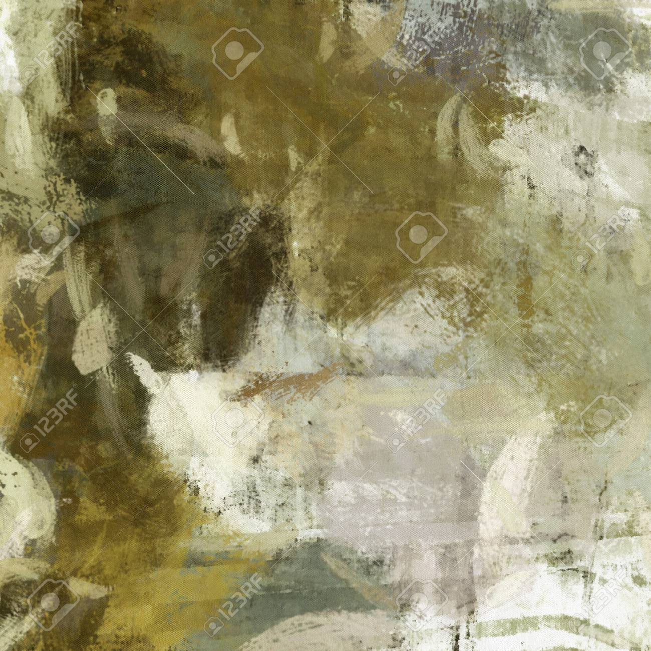 Art Abstract Painted Background With Green Grey And White Blots