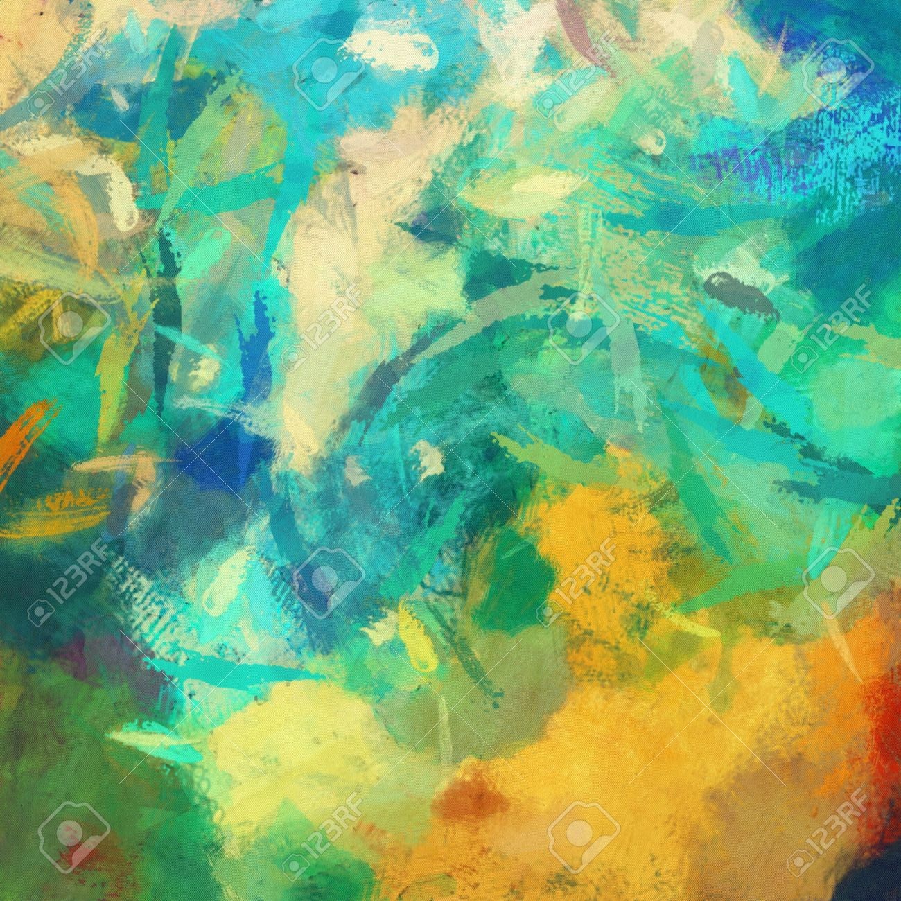 Art Abstract Painted Background With Green Blue And Orange Blots