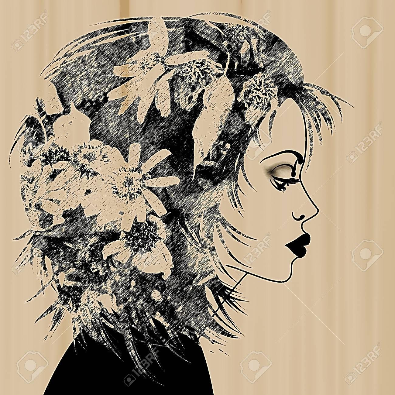 Art Esquissé Beau Visage De Jeune Fille De Profil Avec Des Cheveux Floral Sur Fond Sépia En Noir Et Blanc
