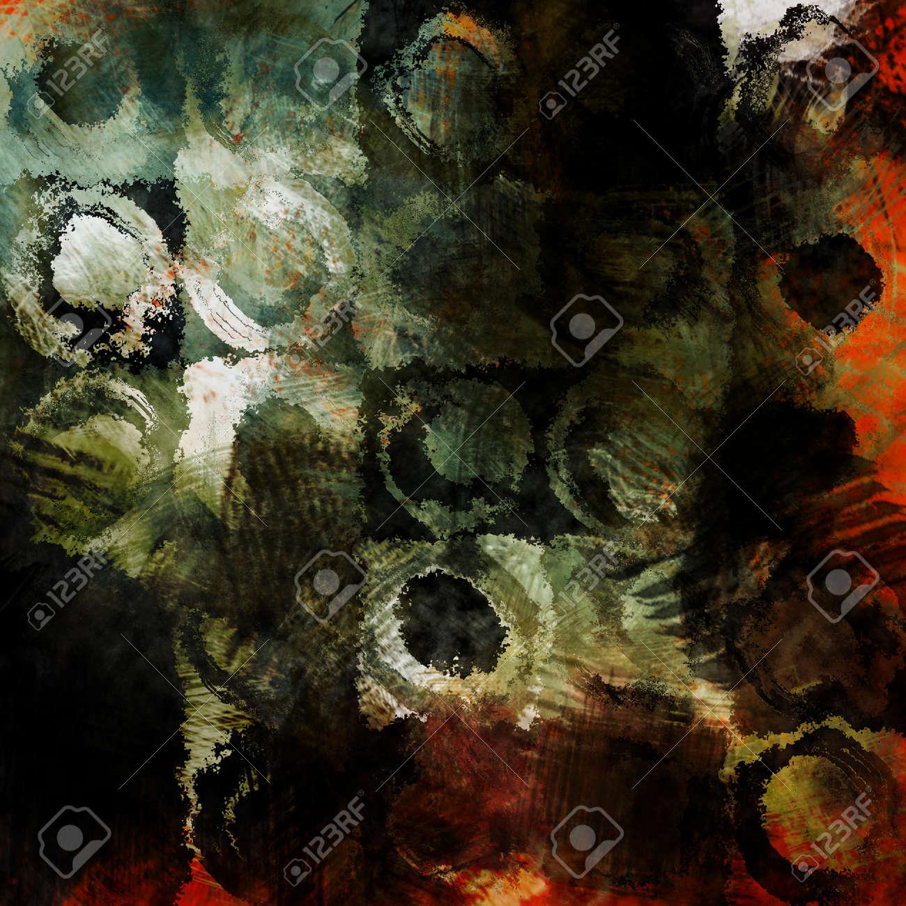Kunst Abstrakt Acryl Und Bleistift Dunklen Hintergrund In Grun Weiss Schwarz Rot Und Orange Farben Mit Grunge Kreisen Lizenzfreie Fotos Bilder Und Stock Fotografie Image 31717085