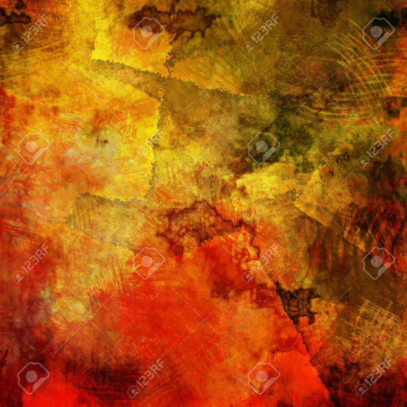 Art Abstract Acrylic And Pencil Background In Red Yellow Brown