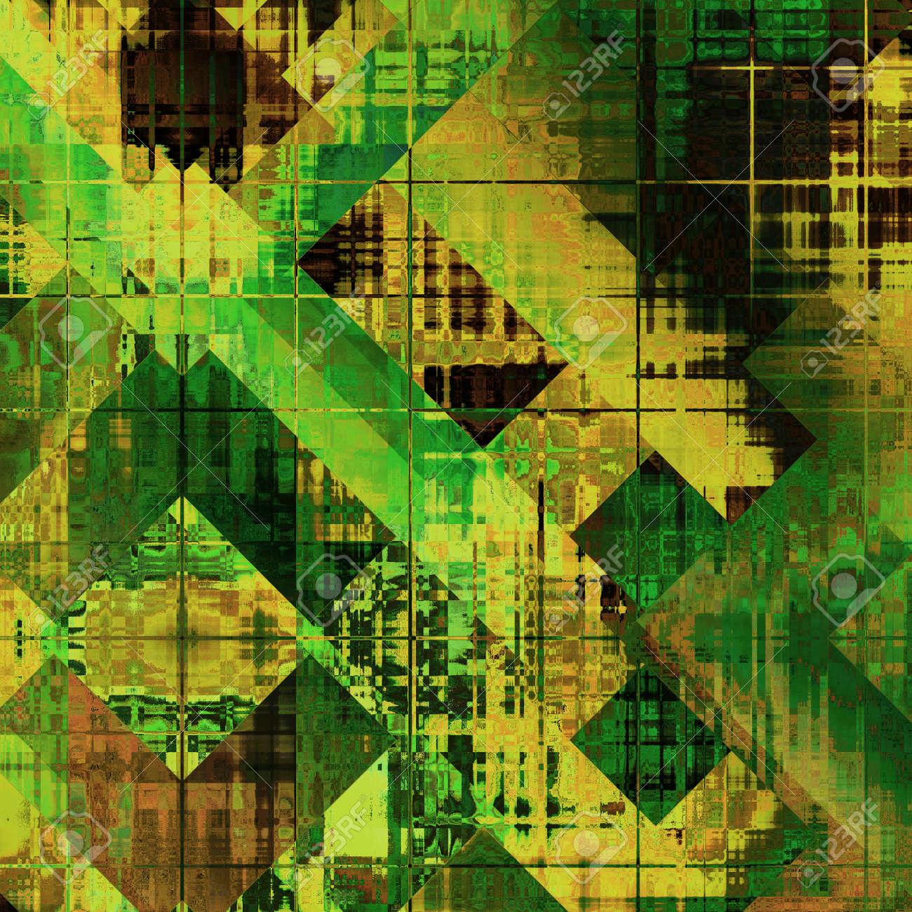 Arte Abstracto Colorido Patrón Geométrico; Fondo Acrílico En Oro ...