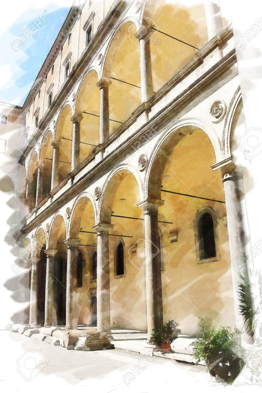 Sfondo Acquerello Arte Isolato Su Base Bianca Con Antica Città Europea Italia Roma Terrazza