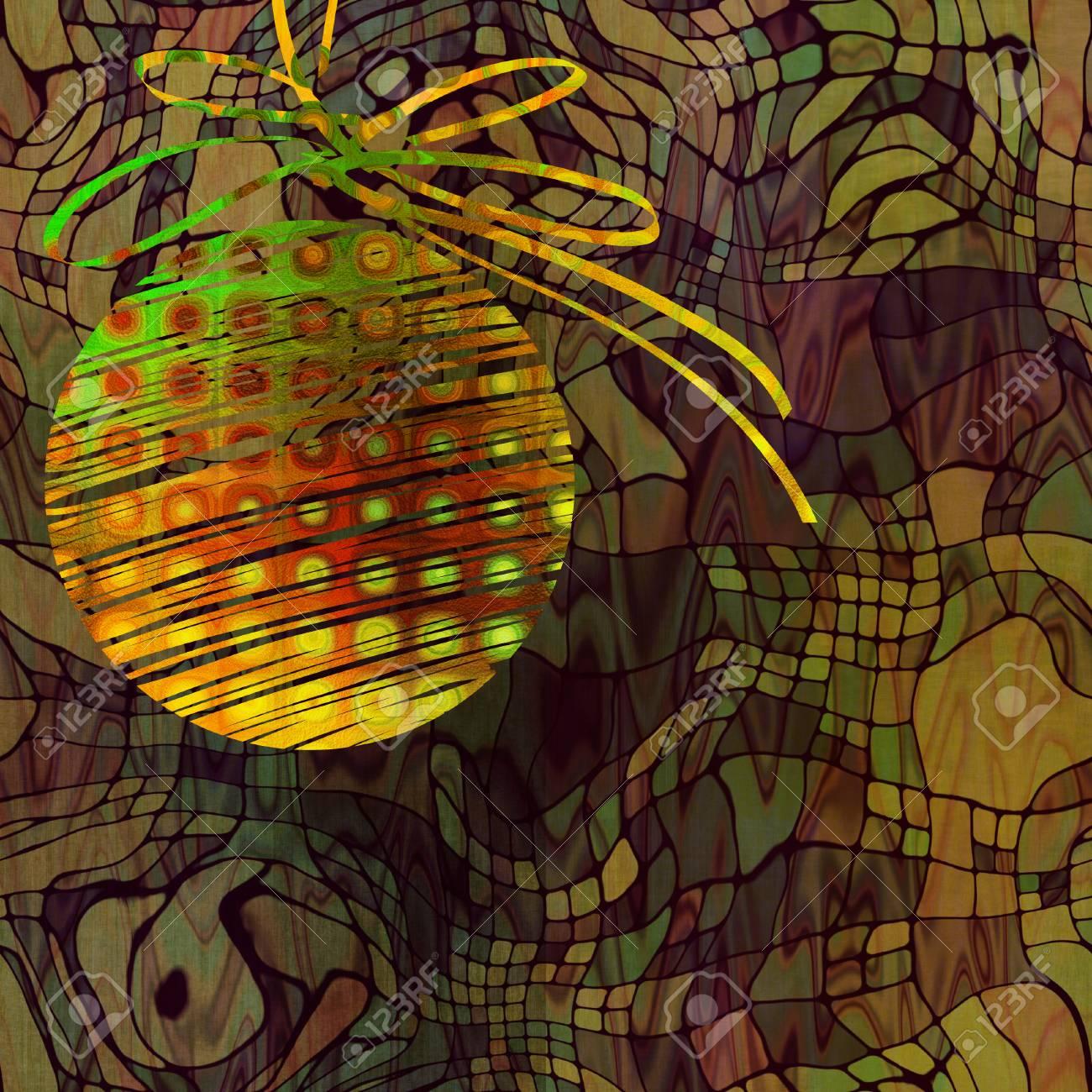 Immagini Stock Arte Natale Oro Arancio E Verde Palla Su Sfondo