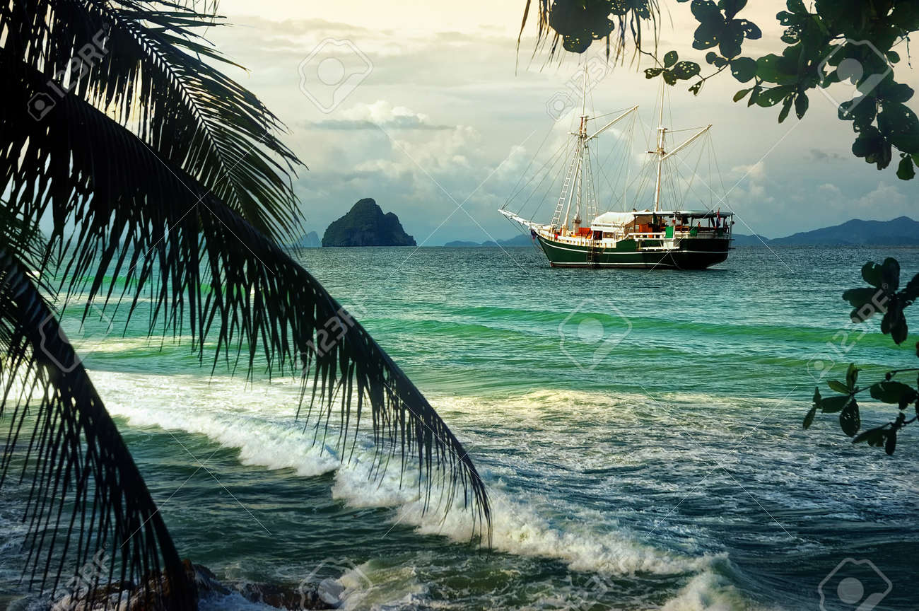 beautiful seascape with sailing on the sea of old ships against