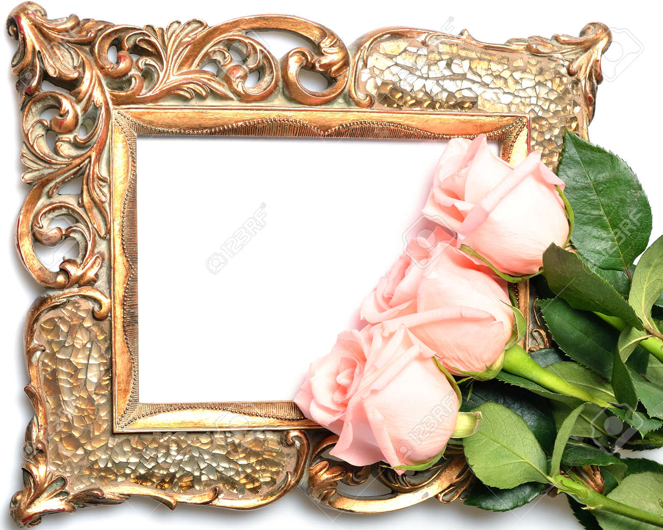 Old A Gilded Frame For The Congratulatory Inscription And Roses ...
