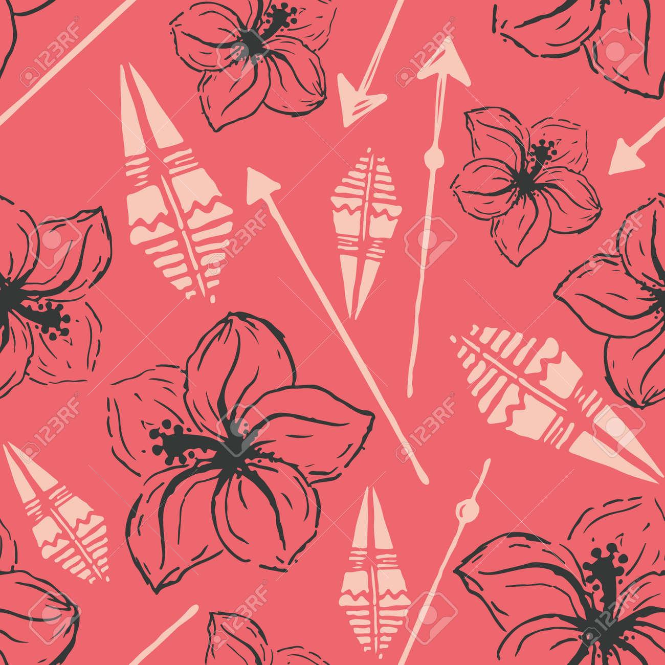 Vector Seamless Pattern Universal Colorful Summer Hawaiian Flowers