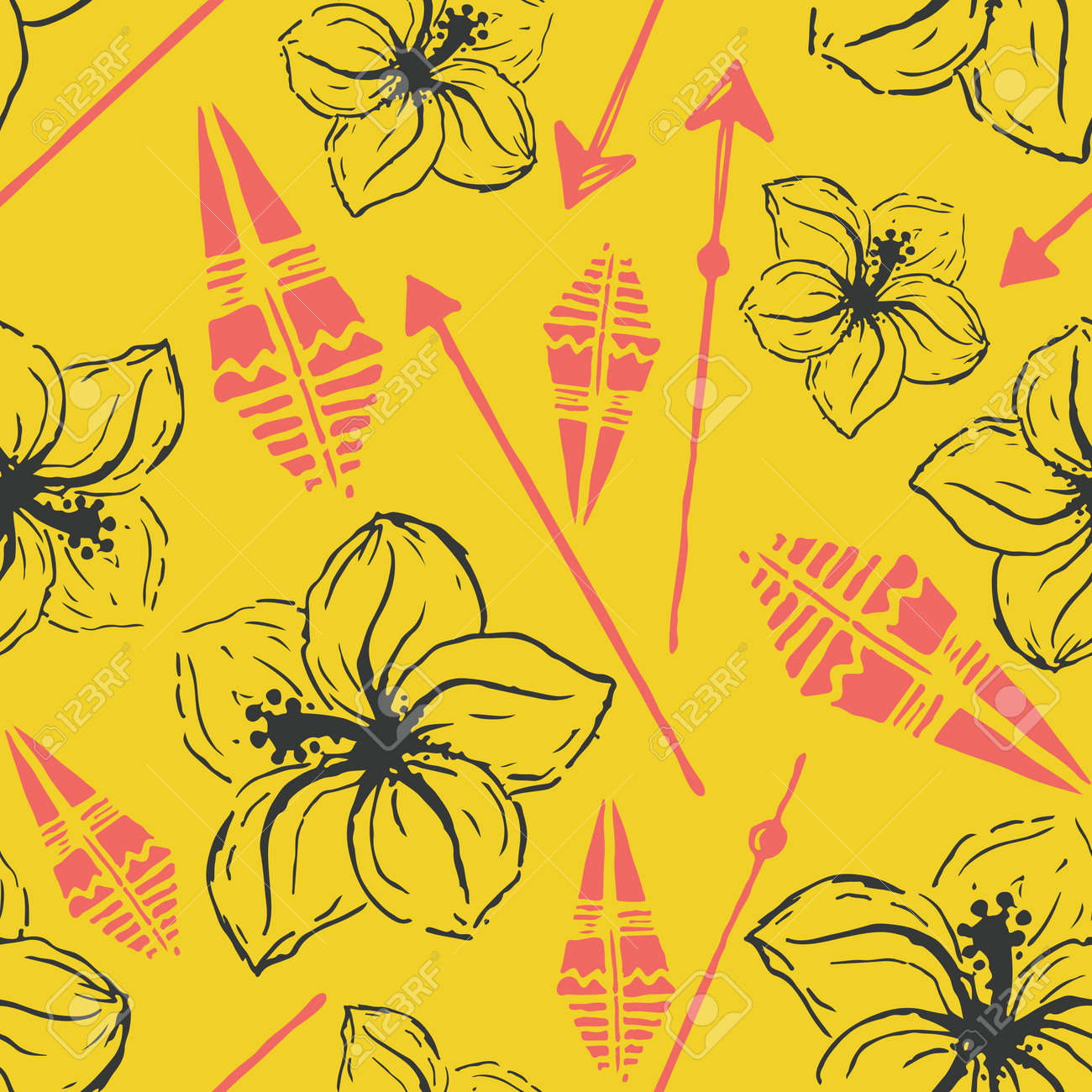 Vector seamless pattern universal colorful summer hawaiian flowers universal colorful summer hawaiian flowers aztec arrows in yellow gray pink modern design wallpaper wrapping paper tourism izmirmasajfo