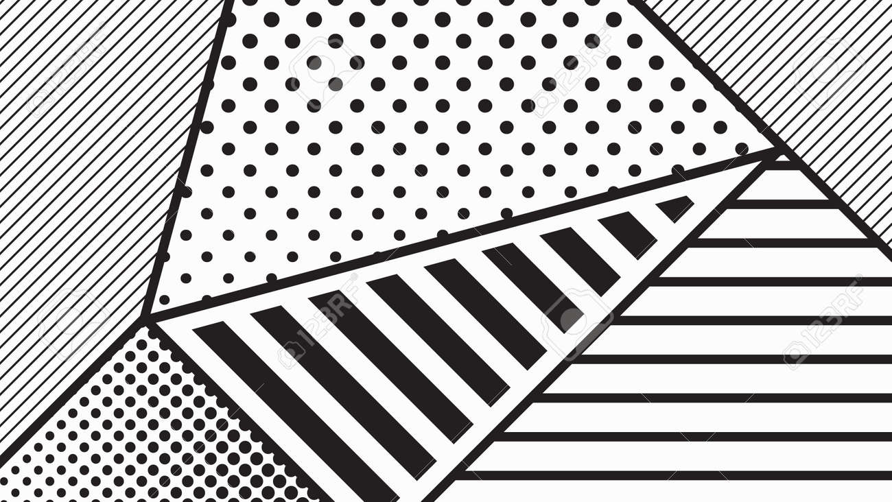 black and white pop art geometric pattern juxtaposed with bright
