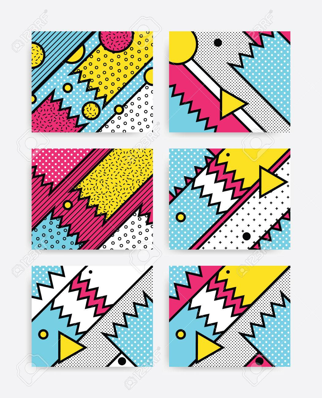 Colorful Pop art geometric pattern set with bright bold blocks. Colorful Material Design Background in Pink Yellow Blue Black and White. Prospectus, poster, magazine, broadsheet, leaflet, book Banque d'images - 67643597