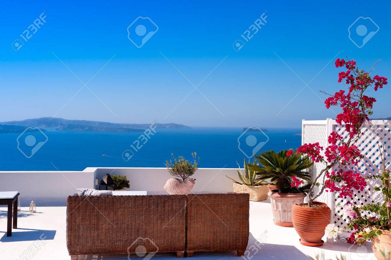 Beautiful View of Mediterranean Santorini Aegean Sea Seascape Stock Photo - 23792226