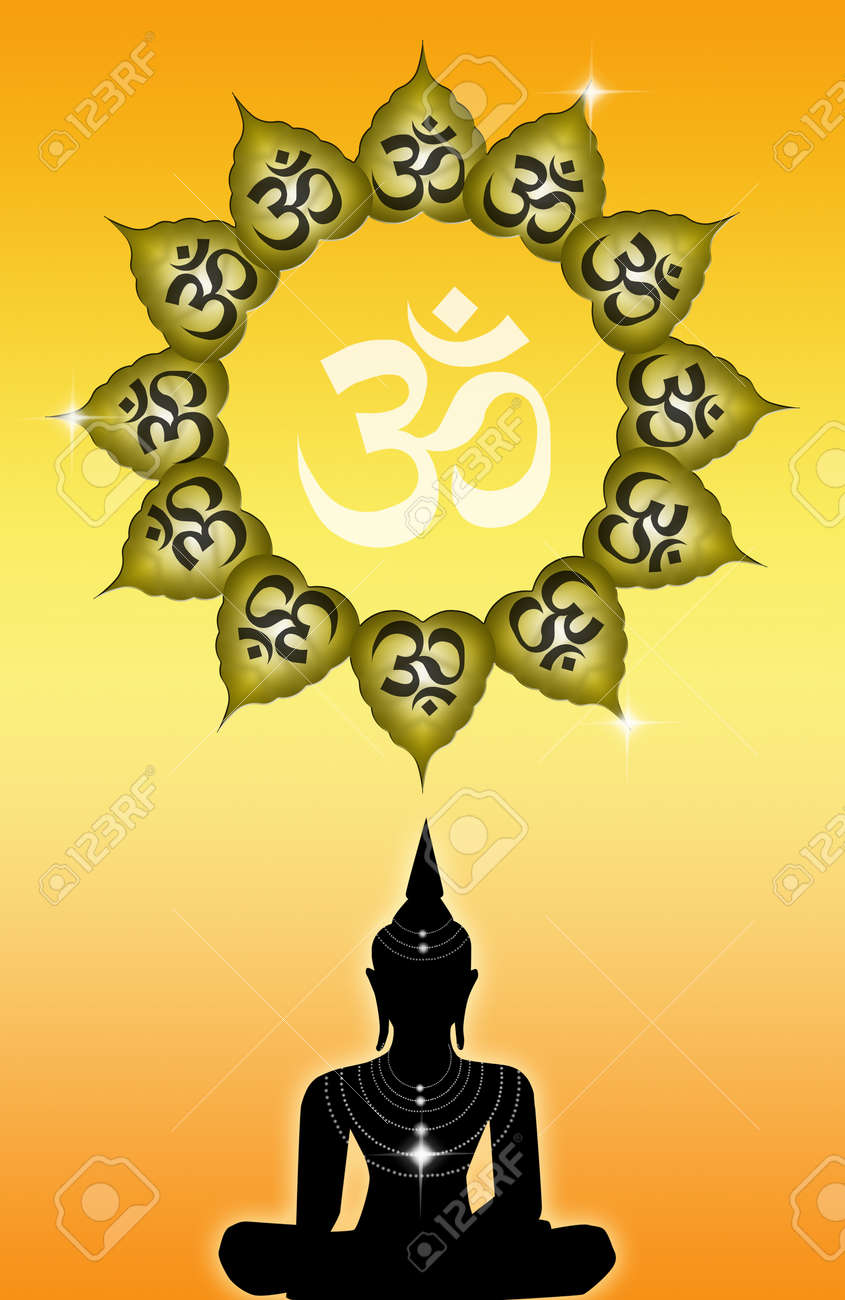illustration of Buddha with Om symbol Stock Illustration - 19094564