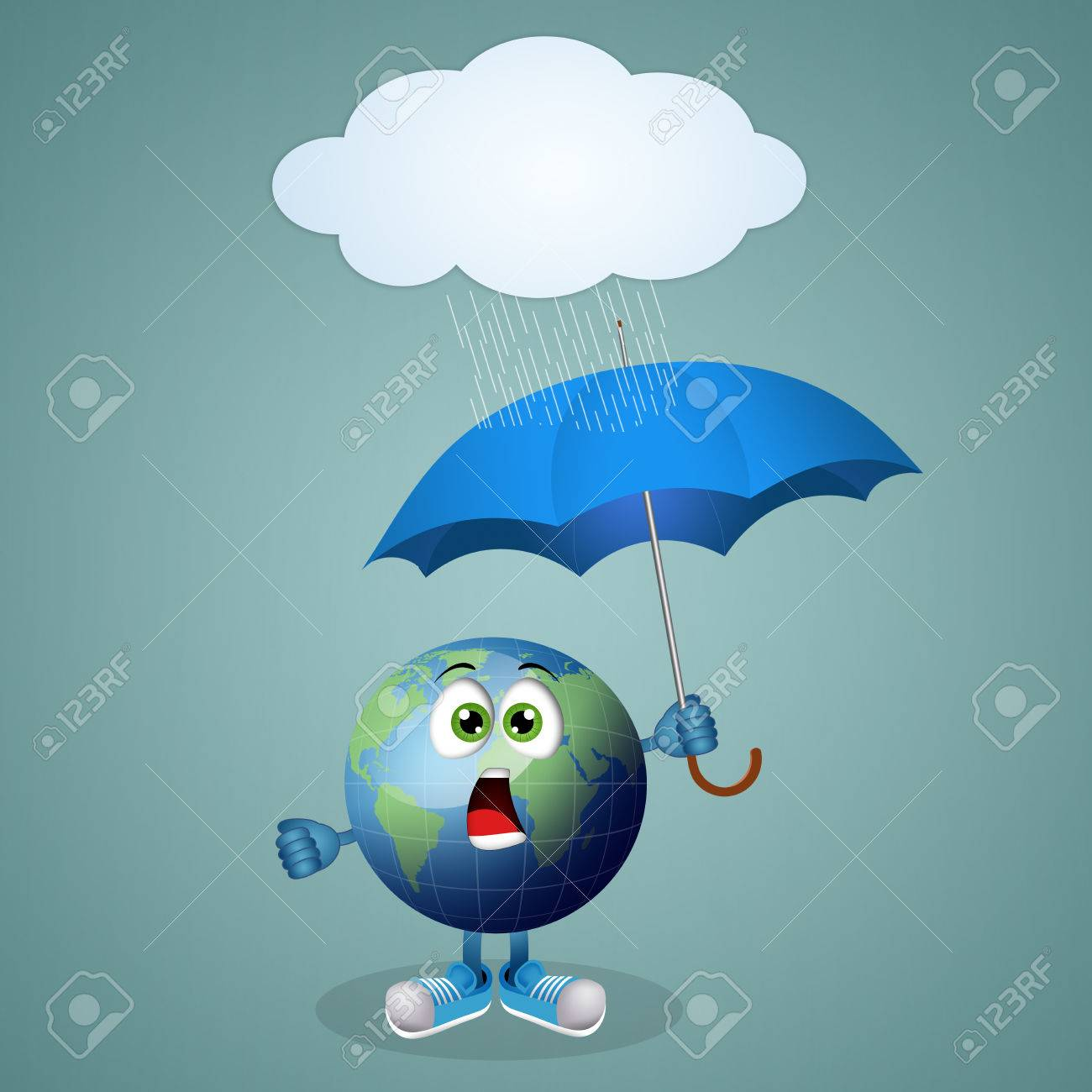 Funny Earth With Umbrella For Rainy Day Stock Photo Picture And
