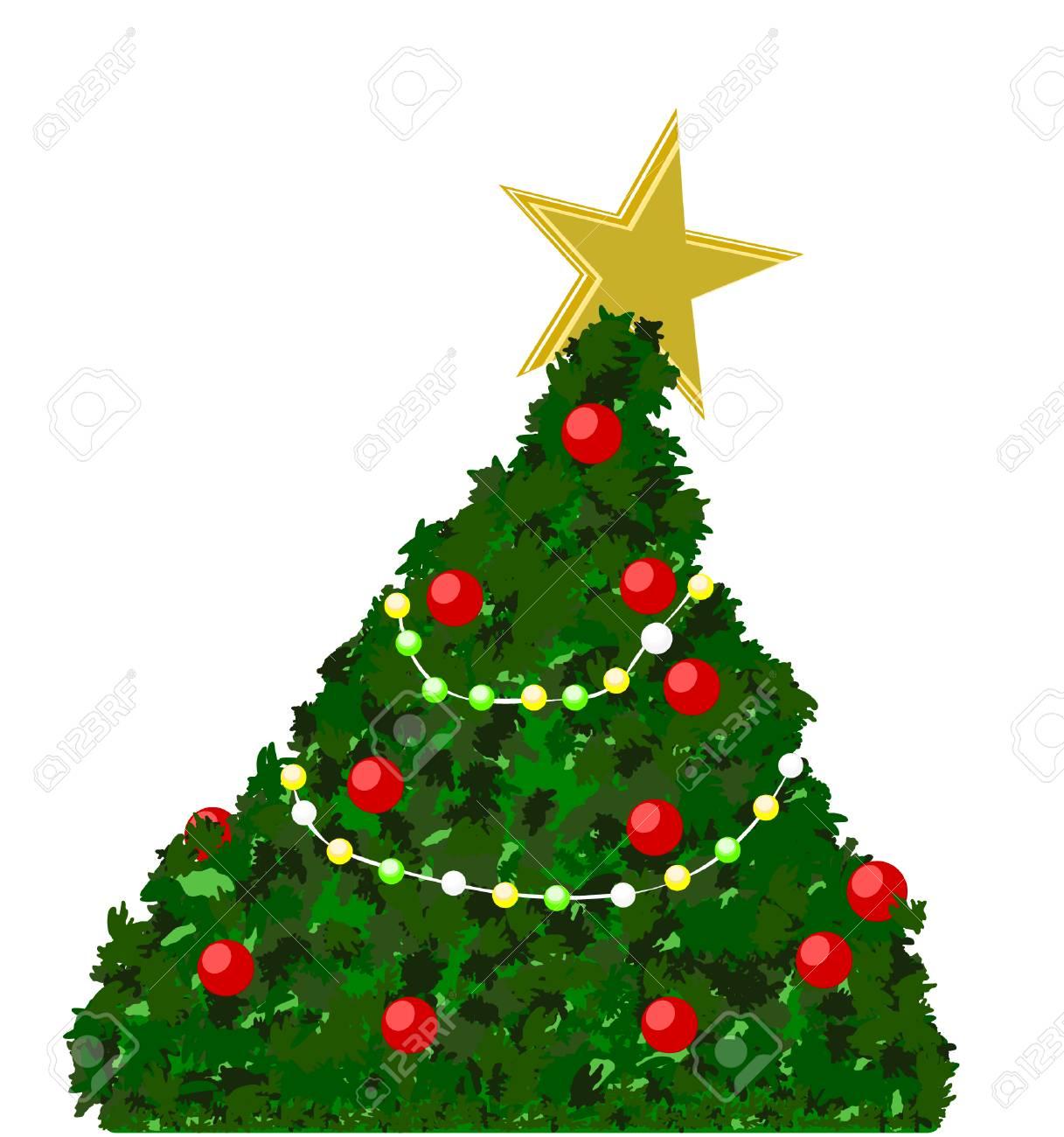 9ca6b5de79d Feliz árbol De Navidad Decorado Con Luces De Bulbo Color Estrella Dorada Y  Aislado En El Espacio De Fondo Blanco Para Sus Textos Y Objetos Y  Decoración ...