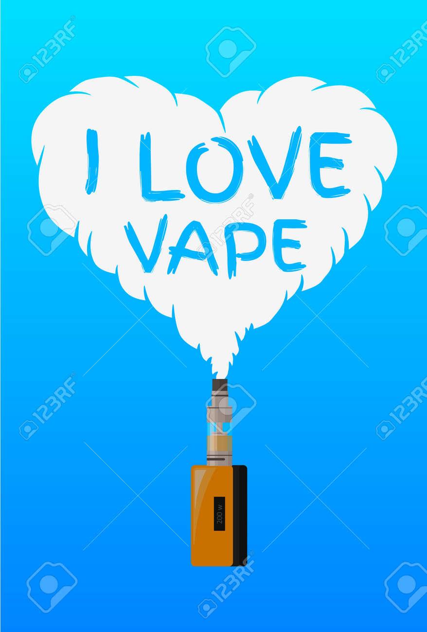 I Love Vape Logo Or Symbol Design Concept Vector Illustrator