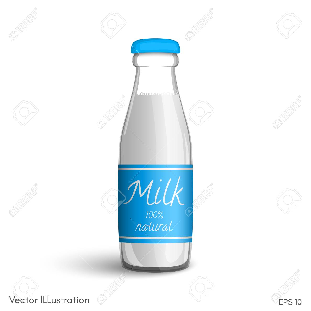Transparent Glass Bottle Of Milk With A Label On A White Background Royalty Free Cliparts Vectors And Stock Illustration Image 70938952