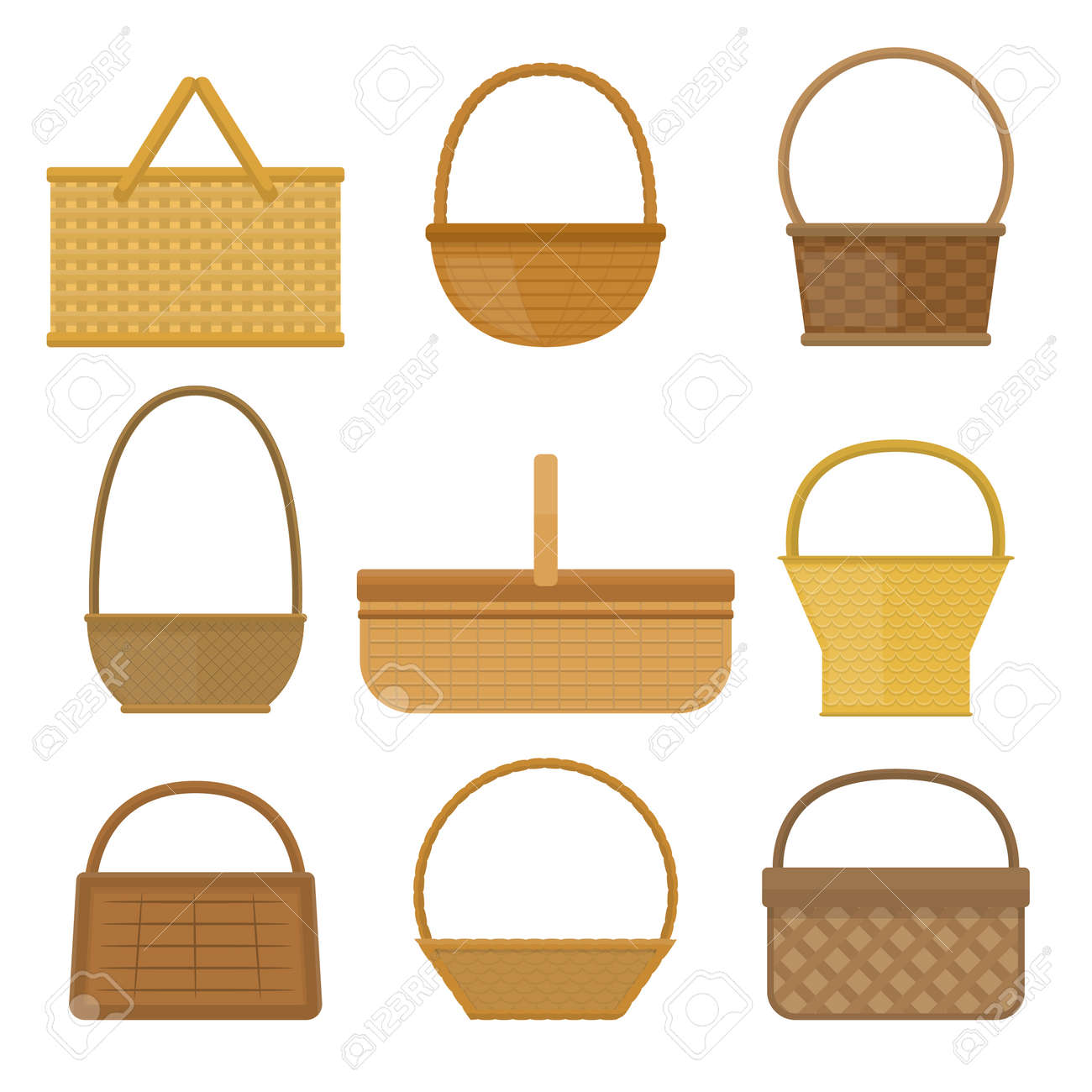 Empty Baskets Set Isolated On White Background Vector Illustration Wicker Picnic Easter