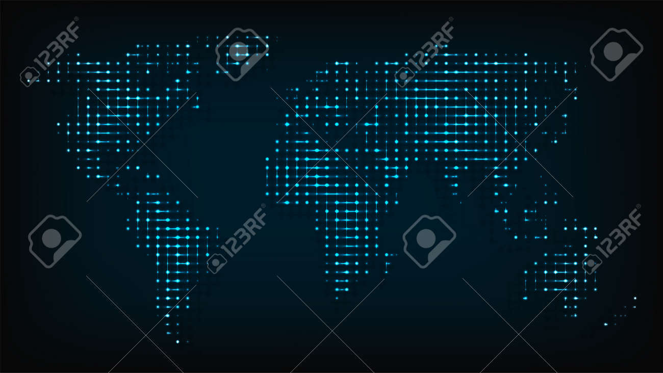 World map isolated from night lights abstract vector illustration world map isolated from night lights abstract vector illustration abstract world map computer round point gumiabroncs Image collections