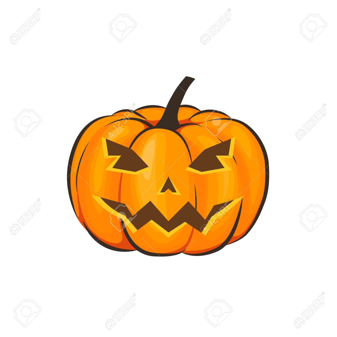 Zucche Di Halloween Cartoni Animati.Halloween E Isolato Con Una Terribile Zucca In Stile Cartone Animato Su Uno Sfondo Bianco