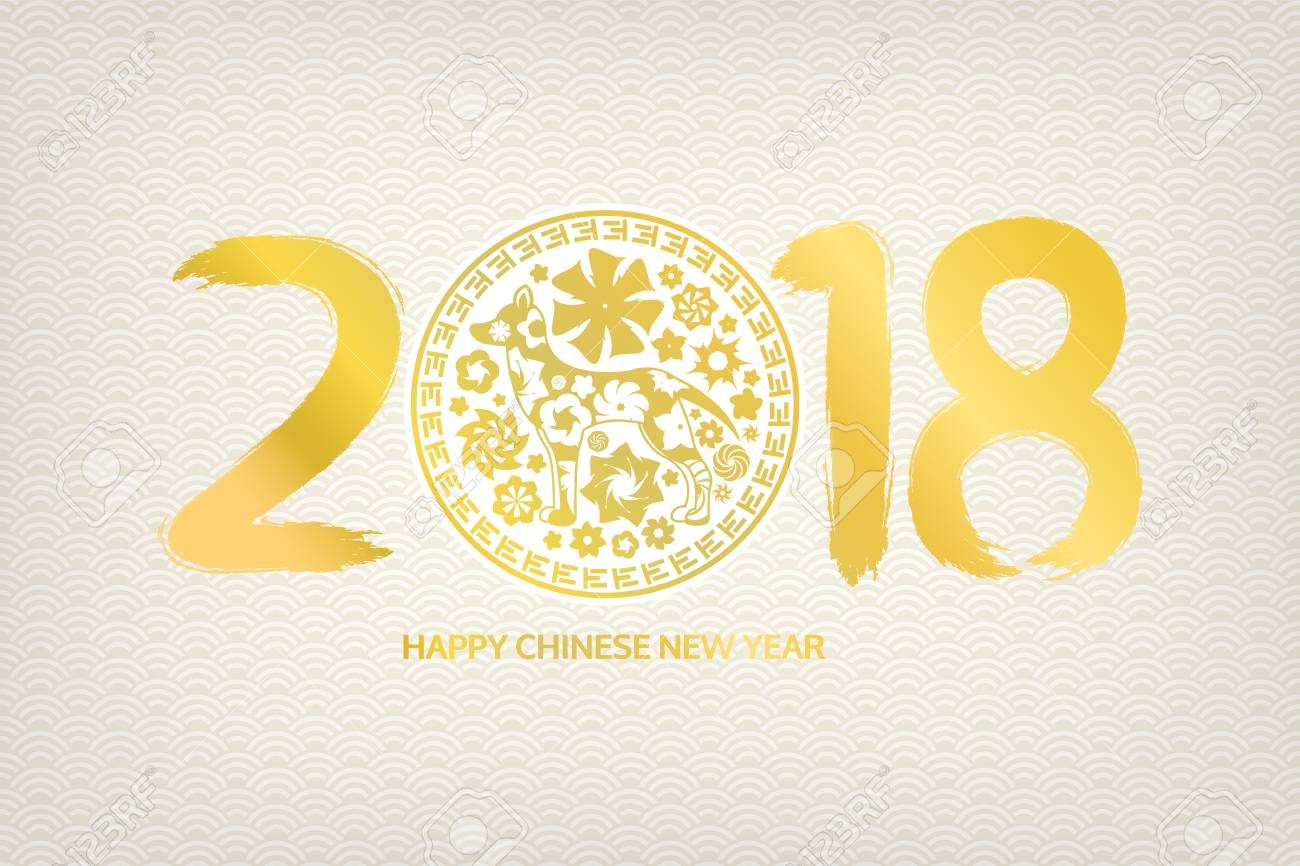 2018 happy chinese new year dogs card shape decoration greeting card banner vector illustration designed