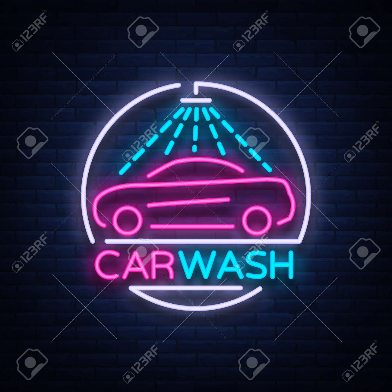 Car Wash Logo Design Emblem In Neon Style Vector Illustration